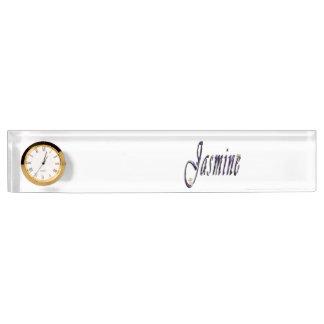 Jasmin, Name, Logo, Schreibtisch-Namensschild mit Namensplakette
