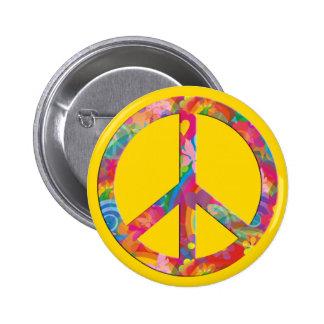 Jaune de la paix de flower power badges avec agrafe
