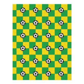 Jaune vert Checkered avec des ballons de football Prospectus 21,6 Cm X 24,94 Cm