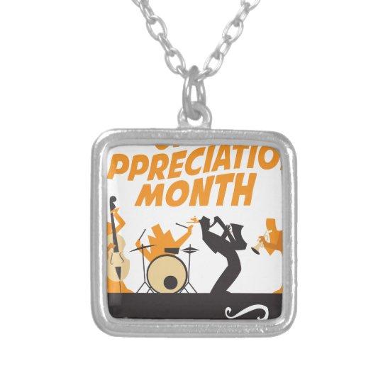 Jazz-Anerkennungs-Monat Halskette Mit Quadratischem Anhänger