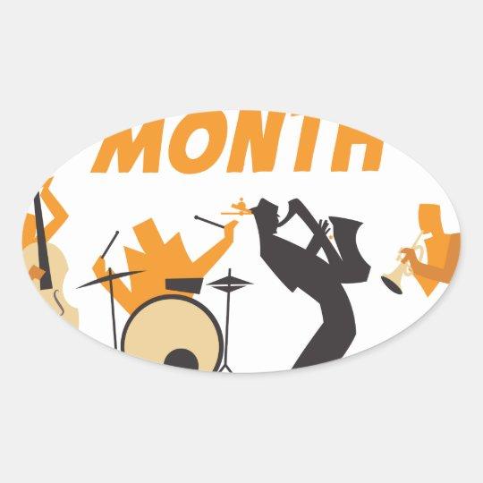 Jazz-Anerkennungs-Monat Ovaler Aufkleber