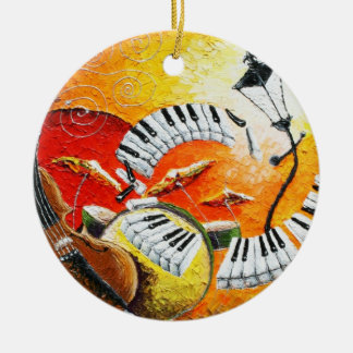 Jazz in der Hügel-runden Weihnachtsverzierung 2012 Rundes Keramik Ornament