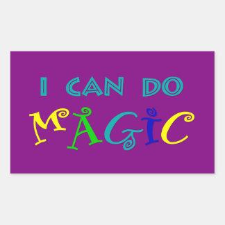 Je peux faire la magie, rétro, espiègle, colorée sticker rectangulaire