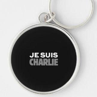Je Suis Charlie - ich bin Charlie-Schwarzes Silberfarbener Runder Schlüsselanhänger