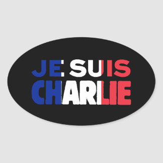 Je Suis Charlie - ich bin Charlie Tri Farbe von Ovaler Aufkleber