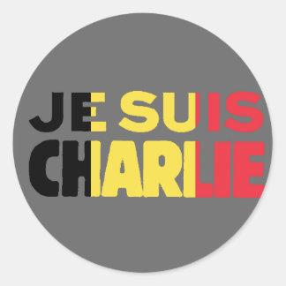 Je Suis Charlie-ICh morgens Charlie-Belgien Flagge Runder Aufkleber