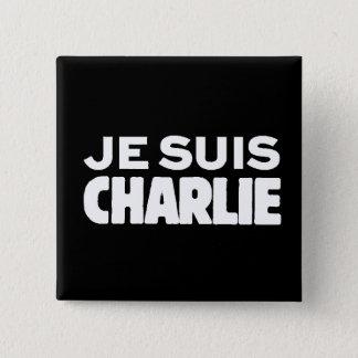 Je Suis Charlie-ICh morgens Charlie-Weiß auf Quadratischer Button 5,1 Cm