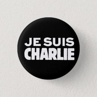 Je Suis Charlie-ICh morgens Charlie-Weiß auf Runder Button 3,2 Cm