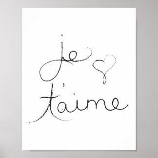 """Je t'aime - """"ich Liebe Sie"""" auf englisch - Plakat"""