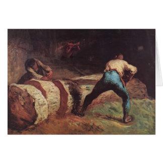 Jean-Francois-Hirse die hölzernen Säger Grußkarte