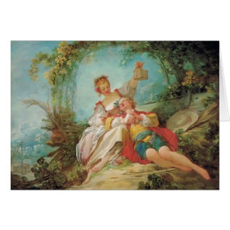 Jean-Honore Fragonard- die glücklichen Liebhaber Grußkarte