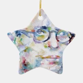 Jean Paul Sartre - Aquarellporträt Keramik Stern-Ornament