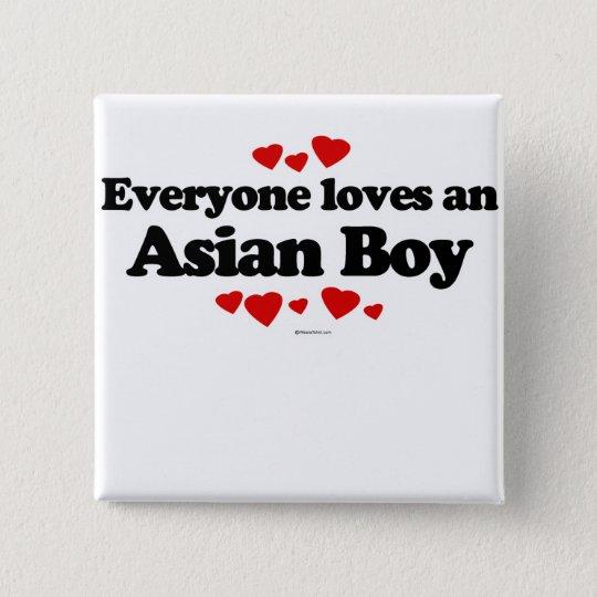 Jeder Lieben ein asiatischer Junge Quadratischer Button 5,1 Cm