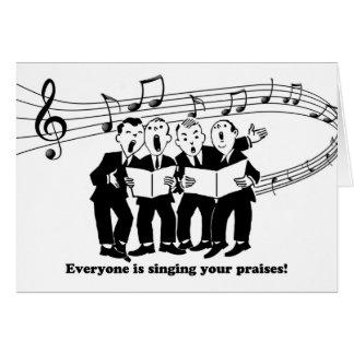 Jeder singt Ihre Lobe, Glückwünsche Karte