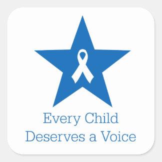 Jedes Kind verdient eine Stimme - quadratischen Quadratischer Aufkleber