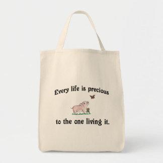 JEDES LEBEN IST WERTVOLLE niedliche Schweintasche Einkaufstasche
