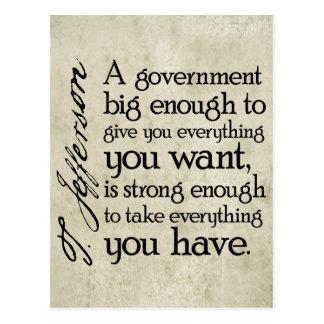 Jefferson: Passen Sie von der großen Regierung auf Postkarte
