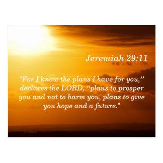 Jeremias 29 11 Sonnenuntergang-Schrifts-codierte Postkarte