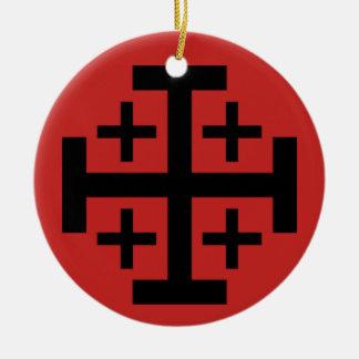 Jerusalem-Kreuz-Weihnachtsverzierung Rundes Keramik Ornament