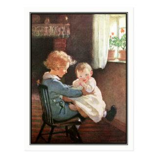 Jessie Willcox Smith - Vintager Junge und Baby Postkarte