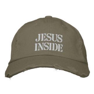 Jésus à l'intérieur, chapeau de regard militaire f casquettes de baseball brodées