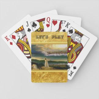 Jesus an das Tor-Goldbeschaffenheits-dem Entwurf Spielkarten