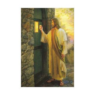 Jesus an Ihrer Tür eingewickelten Leinwand