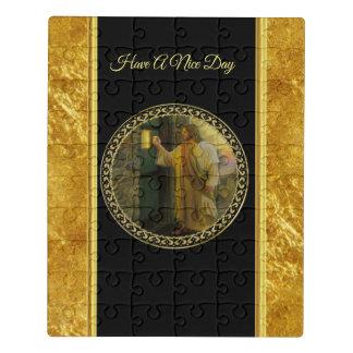 Jesus an Ihrer Tür in der Goldfolie und -SCHWARZEN Puzzle