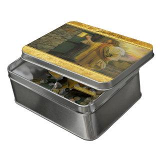 Jesus an Ihrer Tür mit einem Goldfolienentwurf Puzzle