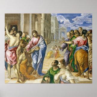 Jesus Christus, der das blinde heilt Poster