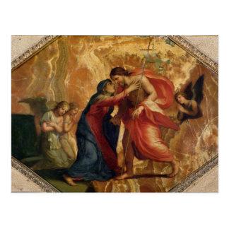 Jesus Christus, der die Jungfrau im Himmel Postkarte