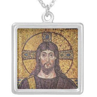 Jesus Christus mit Heiliger Geist Flammen-Mosaik Halskette Mit Quadratischem Anhänger