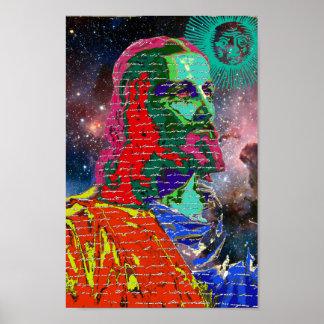 Jesus Christus-Weltraum-Galaxie-Kosmos spielt Sun Poster