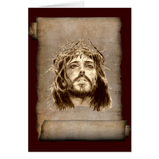 Jesus ChristusDornenkrone auf Rolle Grußkarte