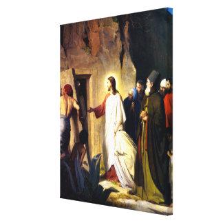 Jesus, der Lazarus von den Toten anhebt Leinwanddruck