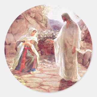 Jesus erscheint zu Maria Magdalena Runder Aufkleber