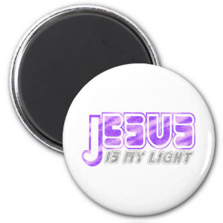 Jésus est ma lumière 2 Fushia Gris. Aimants Pour Réfrigérateur