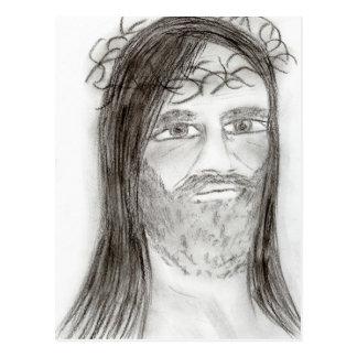 Jesus in der Holzkohle Postkarte