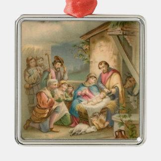Jesus in der Krippe Quadratisches Silberfarbenes Ornament