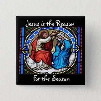Jesus ist der Grund-Weihnachtsknopf Quadratischer Button 5,1 Cm