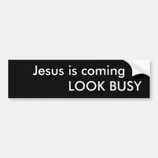 Jesus ist der kommende BESCHÄFTIGTE BLICK Autoaufkleber
