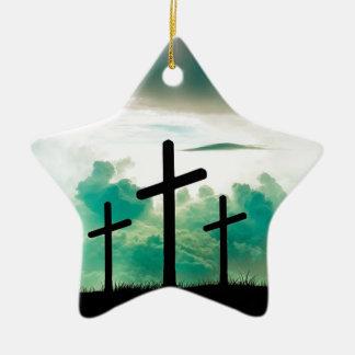 Jesus ist gestiegen (drei Kreuze) Keramik Stern-Ornament
