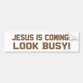 Jesus kommt - schauen Sie beschäftigt Autoaufkleber