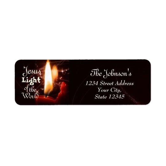 Jesus-Licht der Welt, Weihnachtskerze Rücksendeetiketten