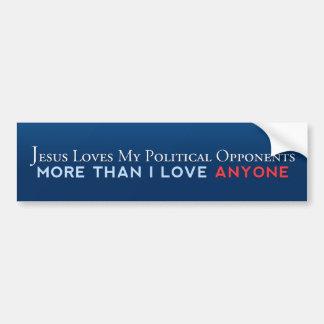 Jesus-Lieben meine politischen Gegner Autoaufkleber