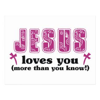 Jesus-Lieben Sie mehr als Sie wissen Sie Postkarte