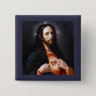 Jesus öffnet sein Herz zu uns Quadratischer Button 5,1 Cm