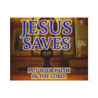 Jesus rettet - setzen Sie Ihren Glauben in Jesus Leinwanddruck
