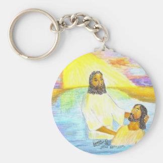 Jesuss Taufe Standard Runder Schlüsselanhänger