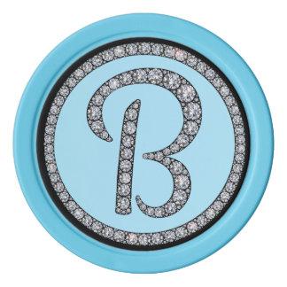 Jeton de poker de monogramme de Bling B
